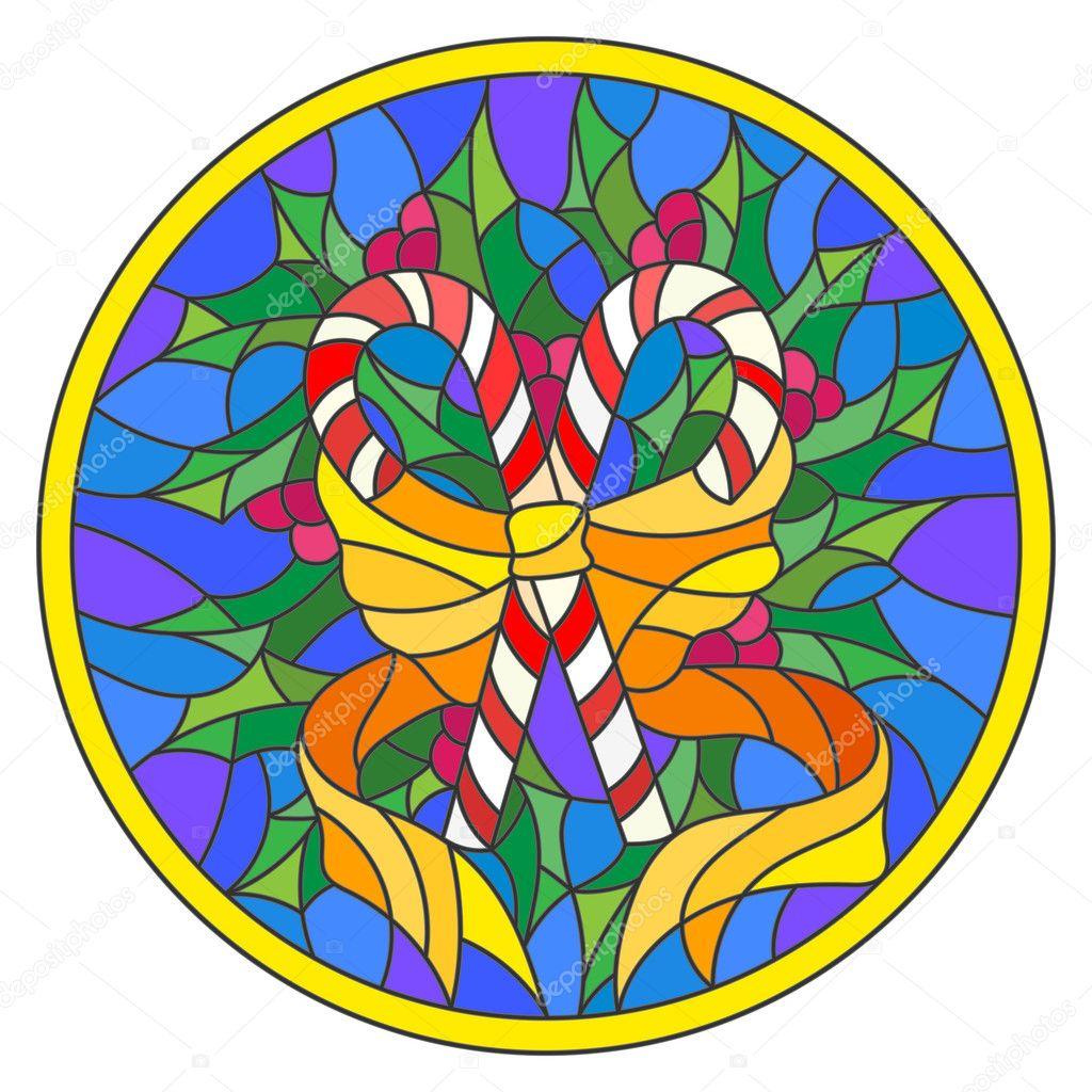 Ilustración estilo vidrieras con piruletas que ramas de acebo y arco ...