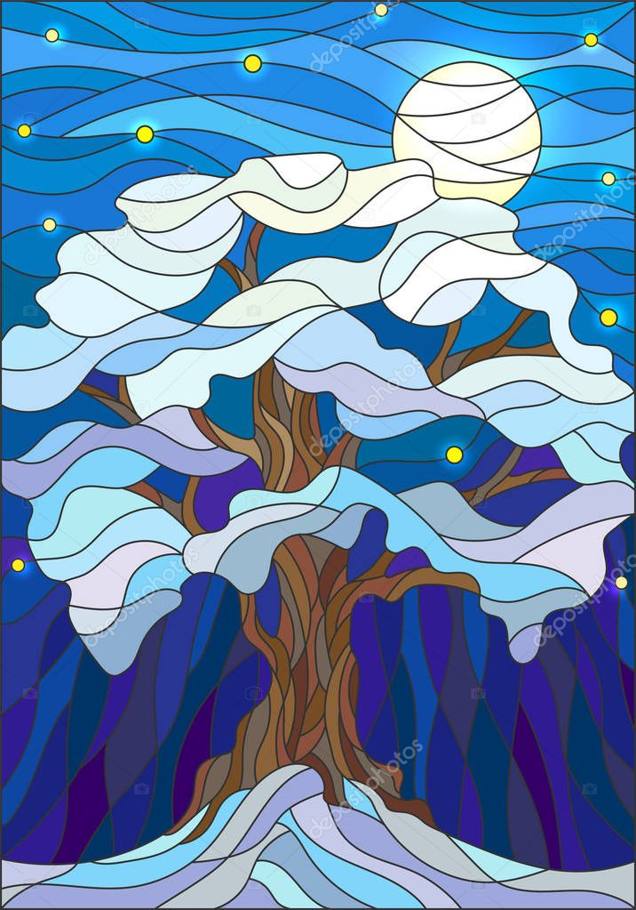 Illustration in stained glass style, lonely snow-covered tree against the night sky and the moon
