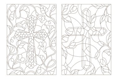Set contour illustrations with Christian cross