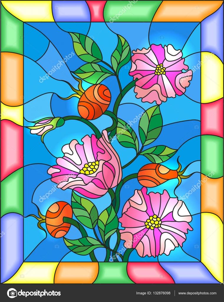 Ilustración de estilo de vidrieras con flores, bayas y hojas de ...