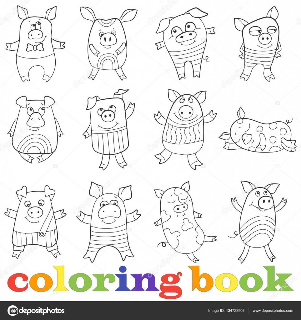 Ilustración con conjunto de cerdos divertidos contornos, libro para ...
