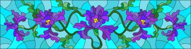 Illustration in stained glass style with flowers, buds and leaves of iris on a blue background,the horizontal orientation