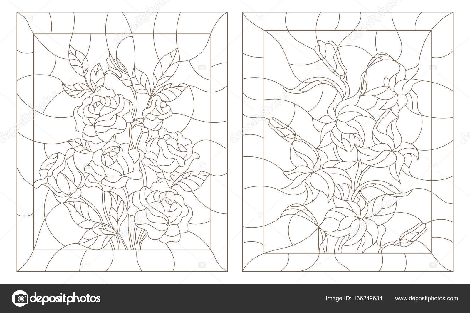 Set Contour Illustrations In The Stained Glass Style