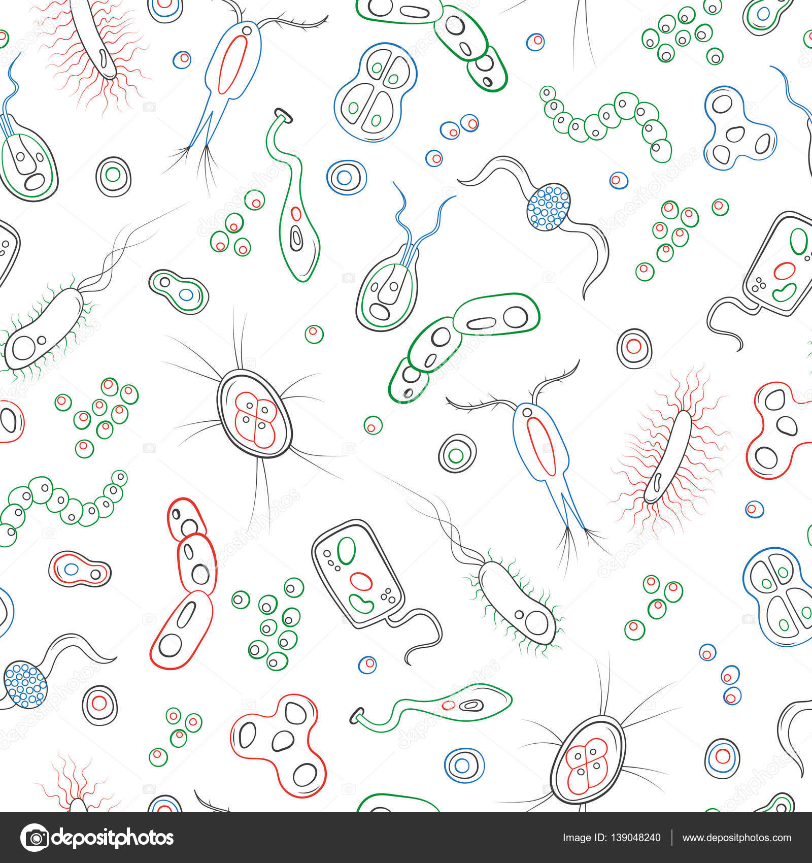 seamless pattern with contour images of bacteria germs and viruses simple colored contour icons