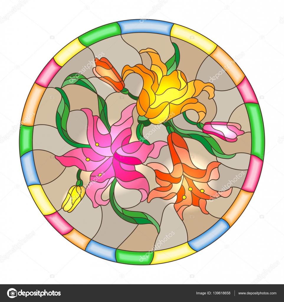 Ilustración de estilo de vidrieras con flores y hojas de lirios en ...
