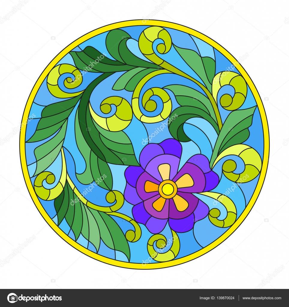 Ilustración de estilo de vidrieras con la abstracción flores y marco ...