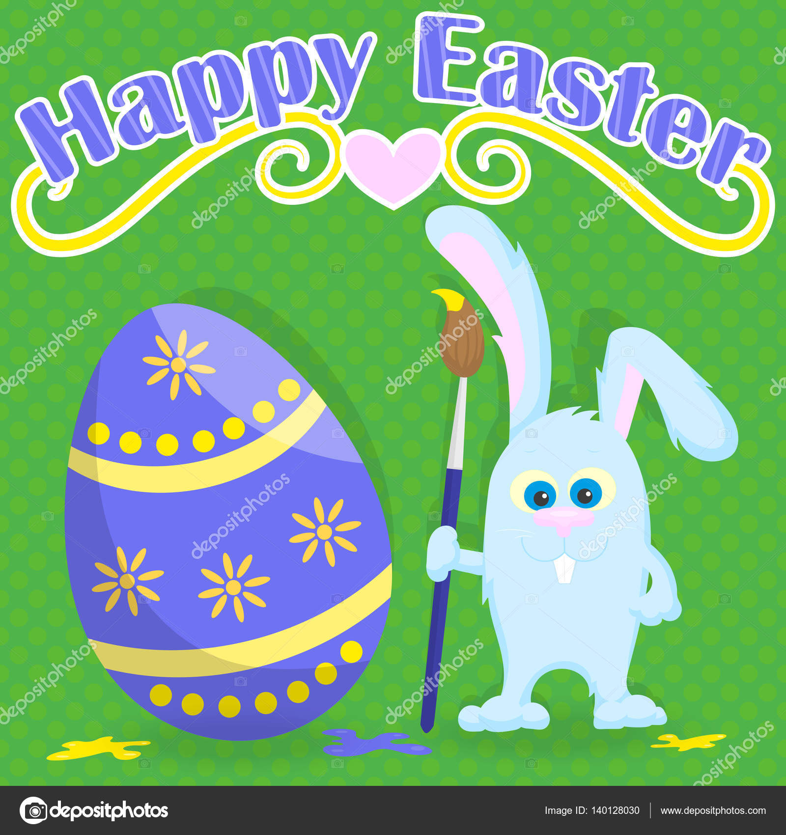 Greeting card for easter funny cartoon easter bunny with paintbrush greeting card for easter funny cartoon easter bunny with paintbrush paint egg on a green background in peas and the words happy easter vector by zagory m4hsunfo