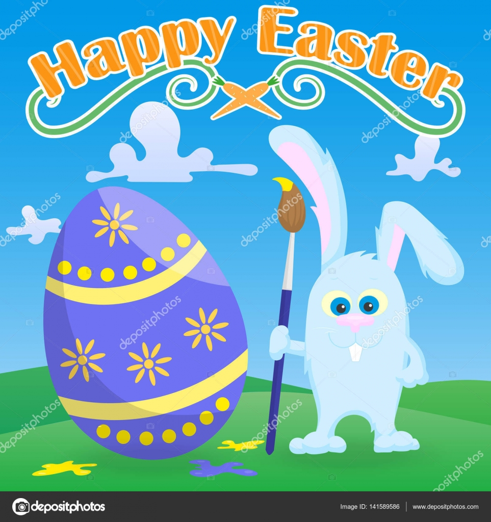 Greeting card for easter funny cartoon easter bunny with paintbrush greeting card for easter funny cartoon easter bunny with paintbrush paint egg on a green lawn and blue sky background and the words happy easter vector m4hsunfo
