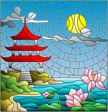 Illustration in stained glass style with Oriental landscape, the Eastern Church with the red roof against the cloudy sky and sun, a river with blossoming Lotus flowers in the foreground