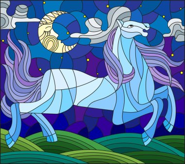 Illustration in stained glass style with fabulous blue horse galloping on the green meadow on the background of the cloudy sky and sun