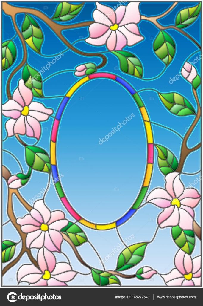 Ilustración de marco abstracto de vidrieras estilo con ramas de una ...