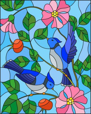 Illustration in stained glass style with two blue jays on the branches of blooming wild rose on a background sky