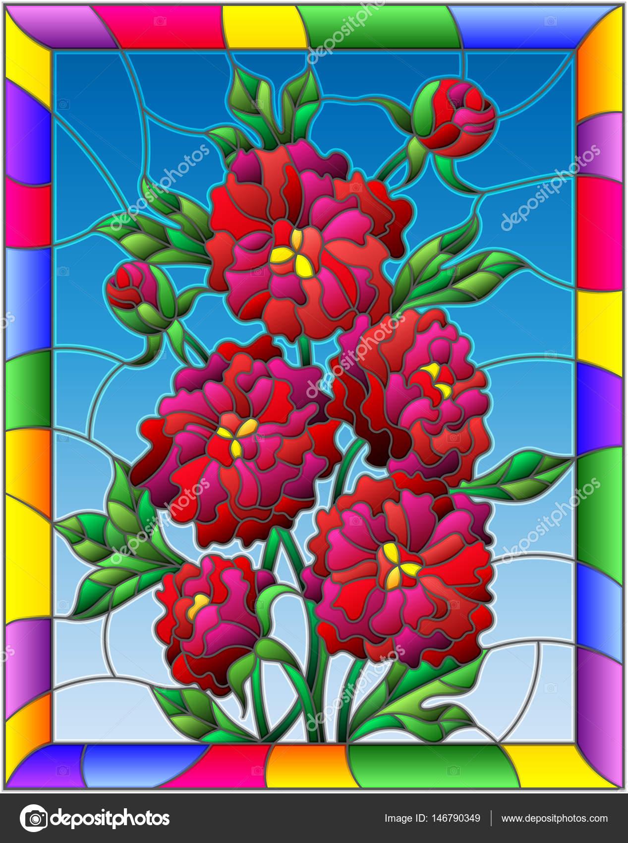 Ilustración de estilo de vidrieras con flores, brotes y hojas de ...