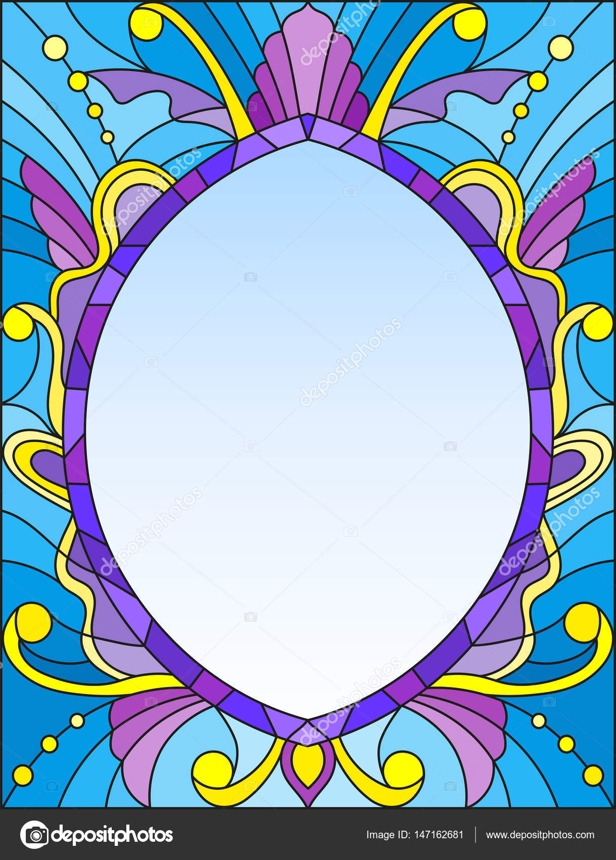 Illustration In Stained Glass Style Frame With Abstract Patterns And