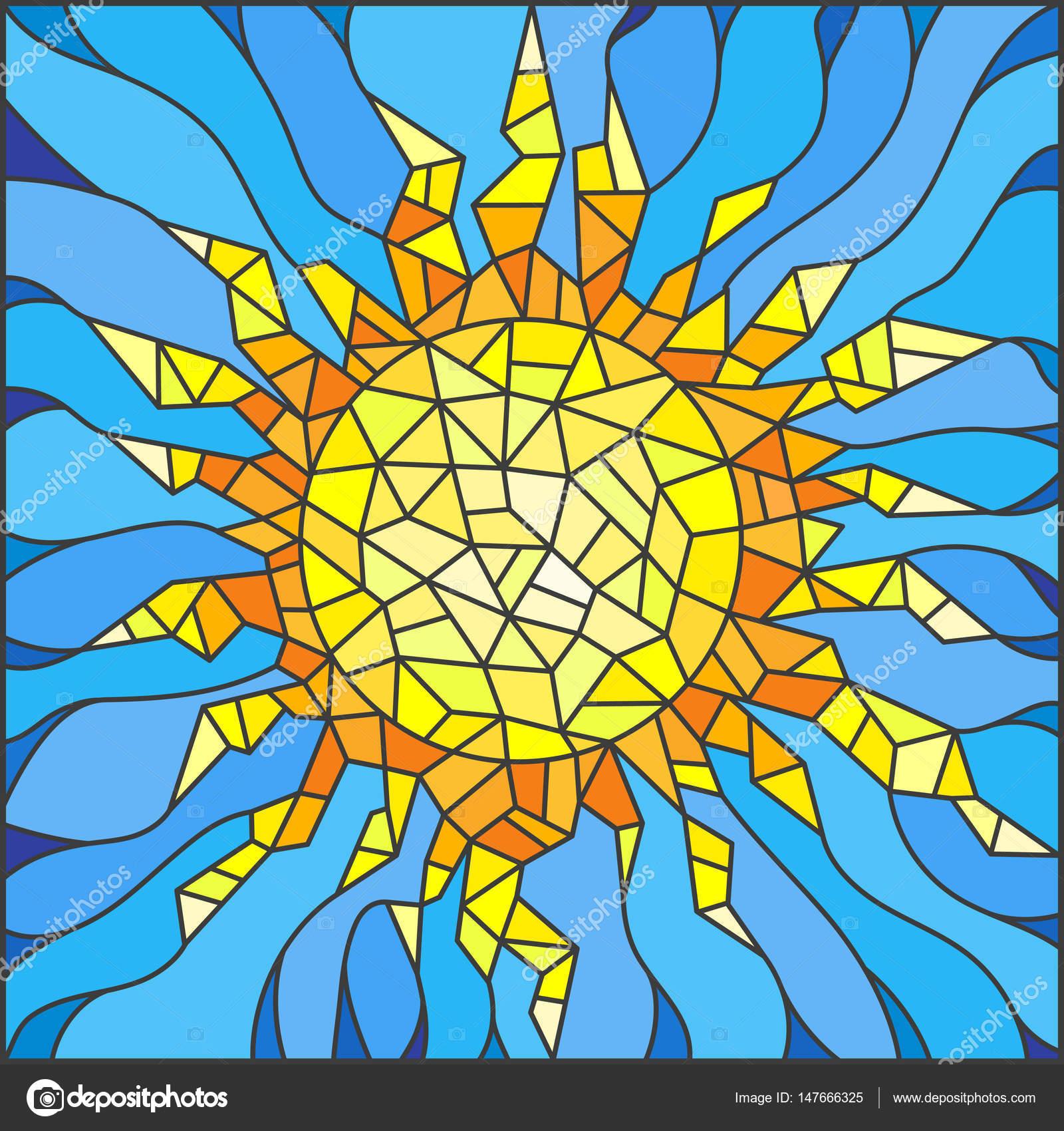 Ilustración en el estilo de un sol abstracto cristal manchado ...