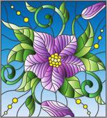 Ilustrace v vitráže stylu s abstraktní fialový květ, pupeny a listy na modrém pozadí
