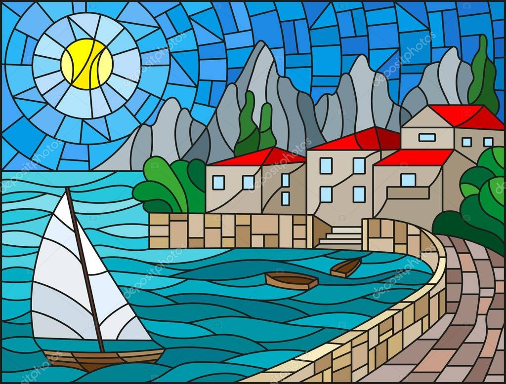 The illustration in stained glass style painting with a sailboat on the background of the Bay with city, sea and sun of the day sky