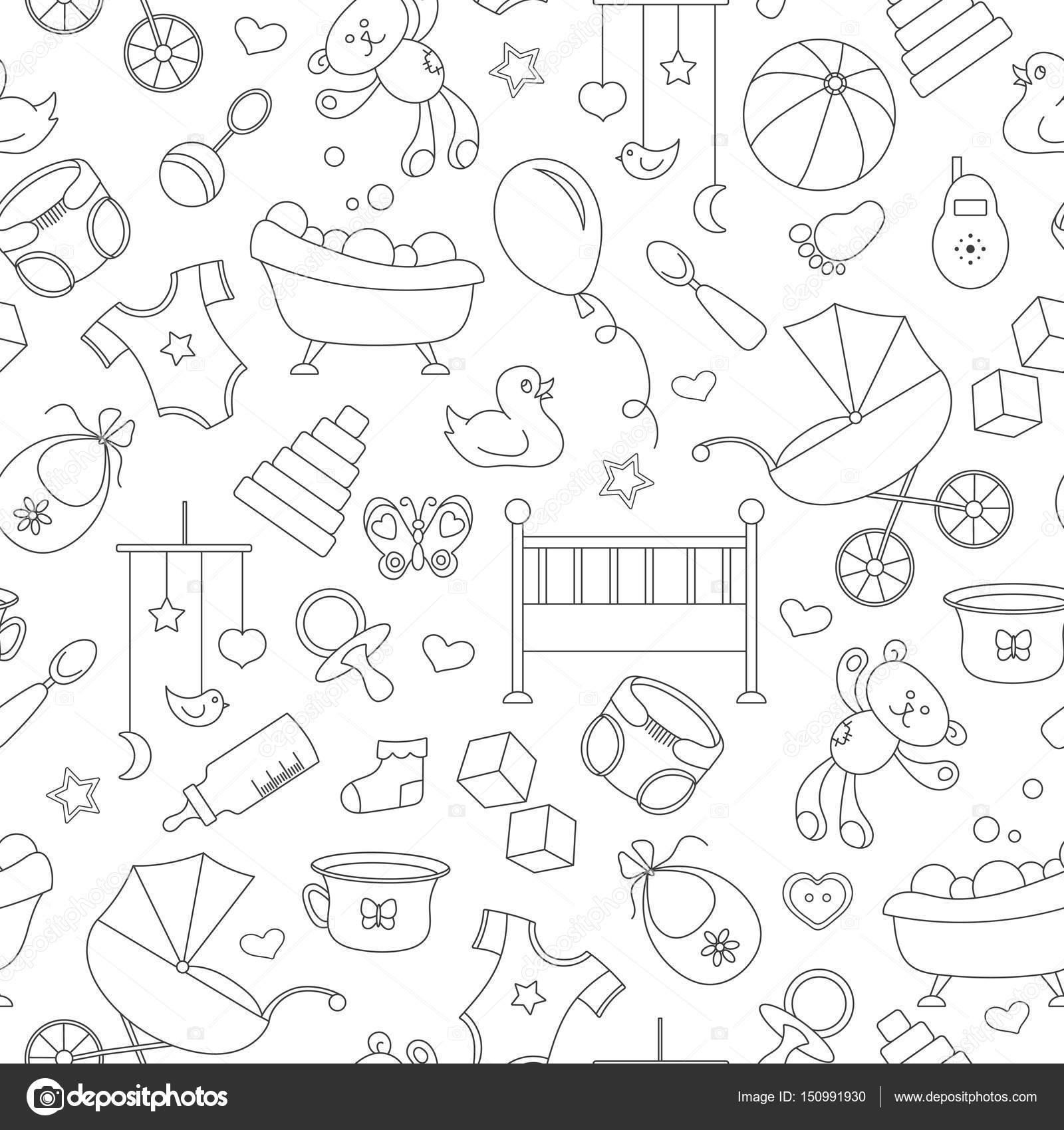 Patrones en blanco y negro para bebé | De patrones sin fisuras sobre ...