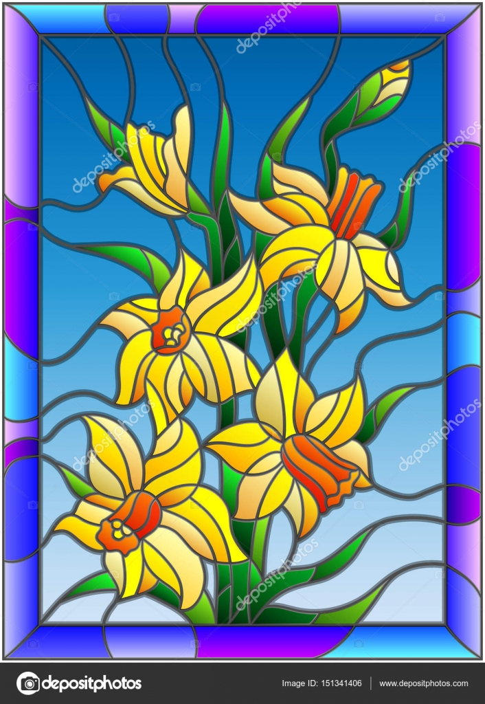 Ilration In Stained Gl Style With Daffodils On Blue Background A Bright Frame