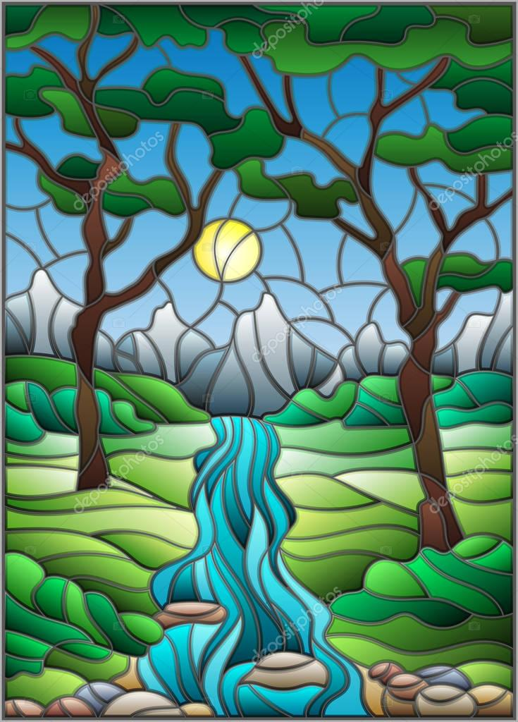 Illustration in stained glass style with a rocky Creek in the background of the Sunny sky, mountains, trees and fields