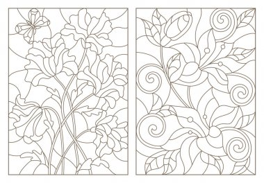 Set contour illustrations in the stained glass style with floral pattern , bouquet by poppies and lilies , dark outline on a white background
