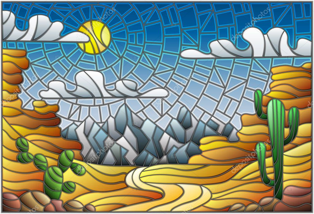 The illustration in stained glass style painting with desert landscape, cactus in a lbackground of dunes, sky and sun