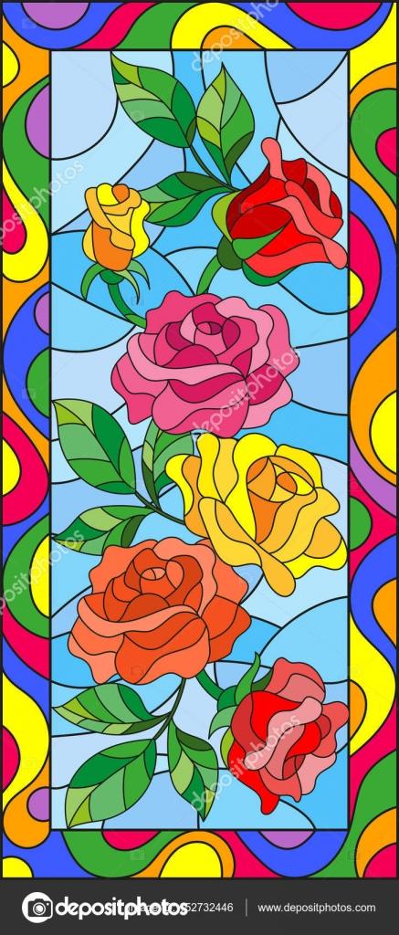 Ilustración de estilo de vidrieras con flores y hojas de rosa en un ...
