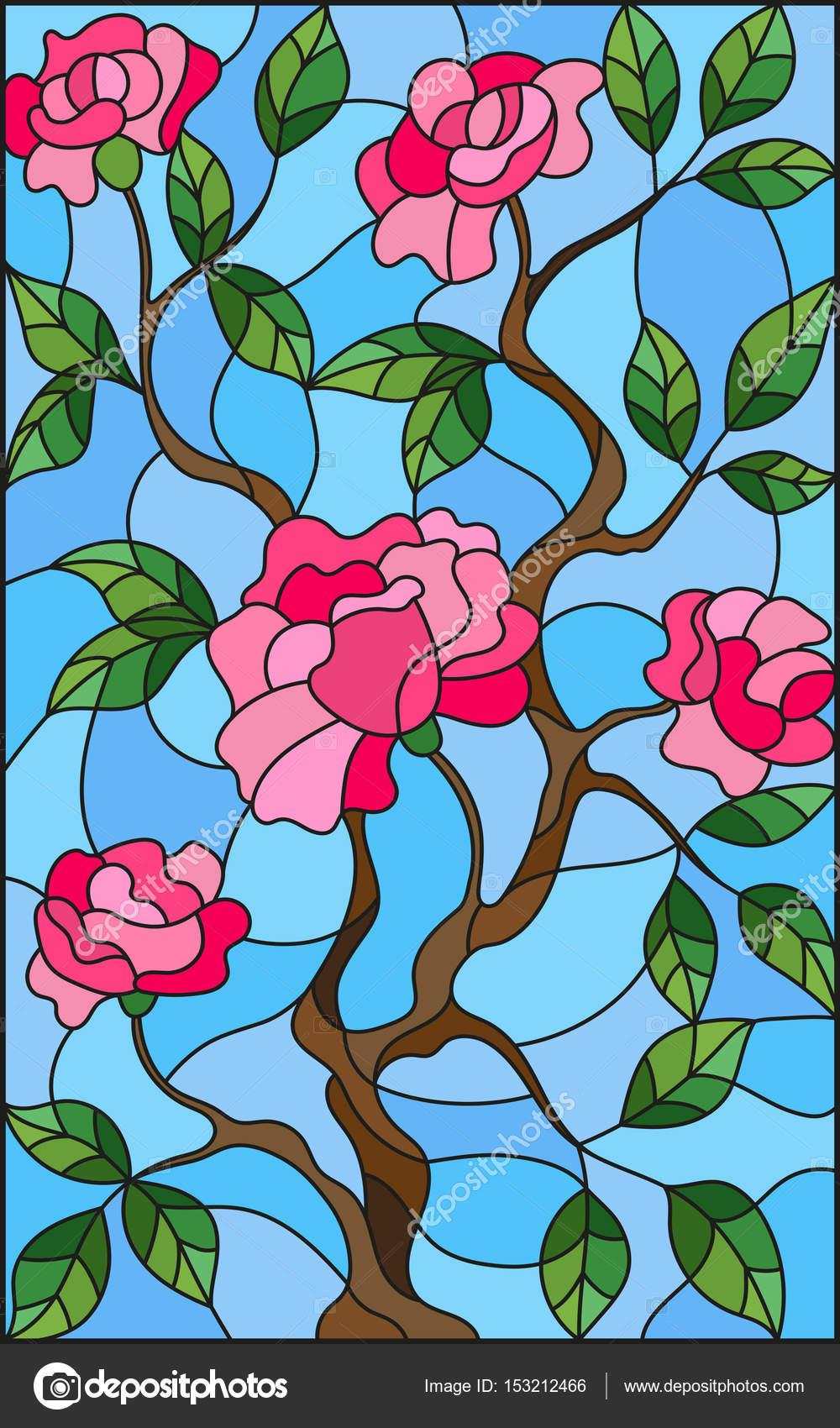 Ogromnie Ilustracja w Witraż kwiat stylu różowych róż na niebieskim tle TB77