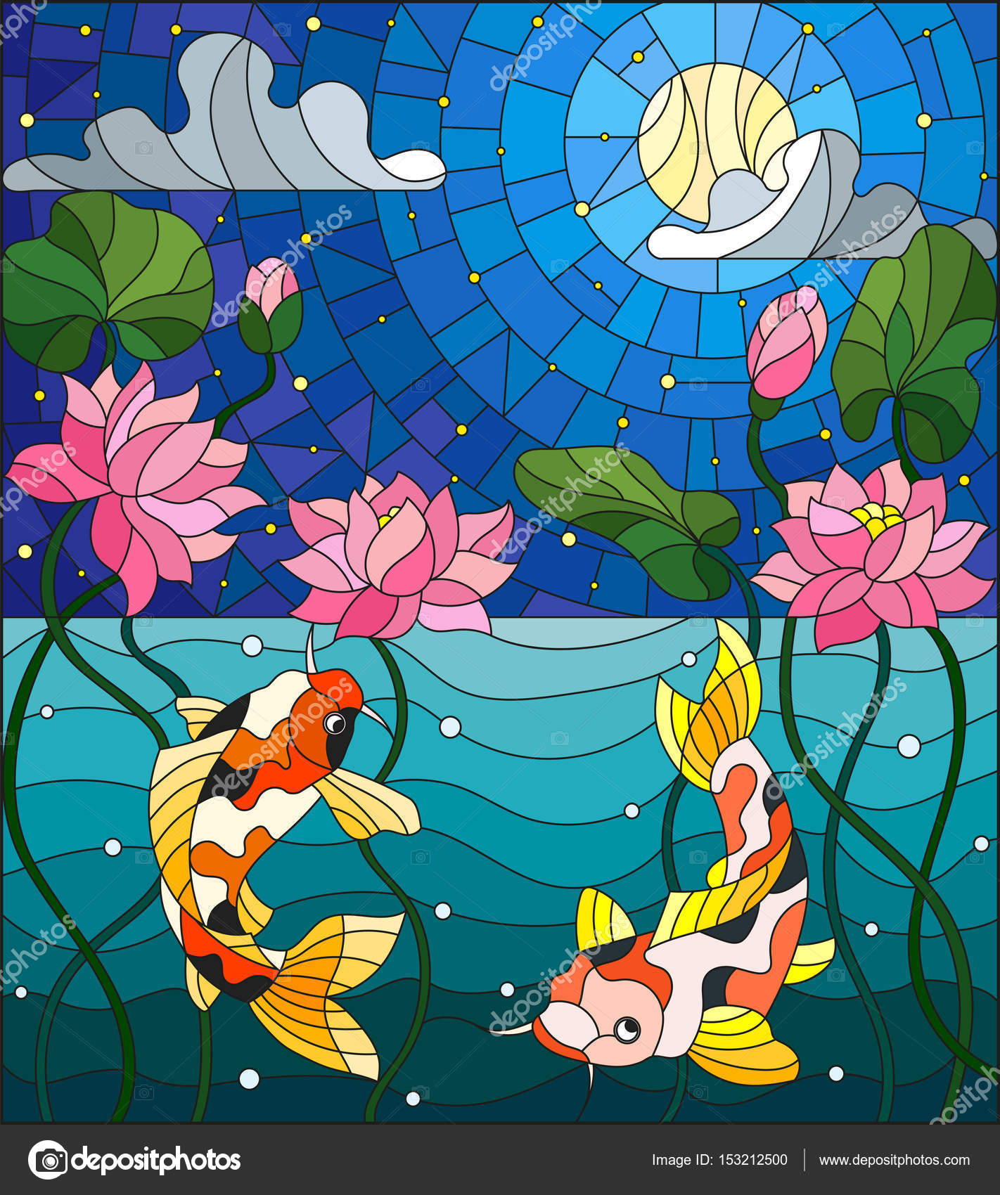 Illustration in stained glass style with koi fish and lotus flowers illustration in stained glass style with koi fish and lotus flowers on a background of the izmirmasajfo