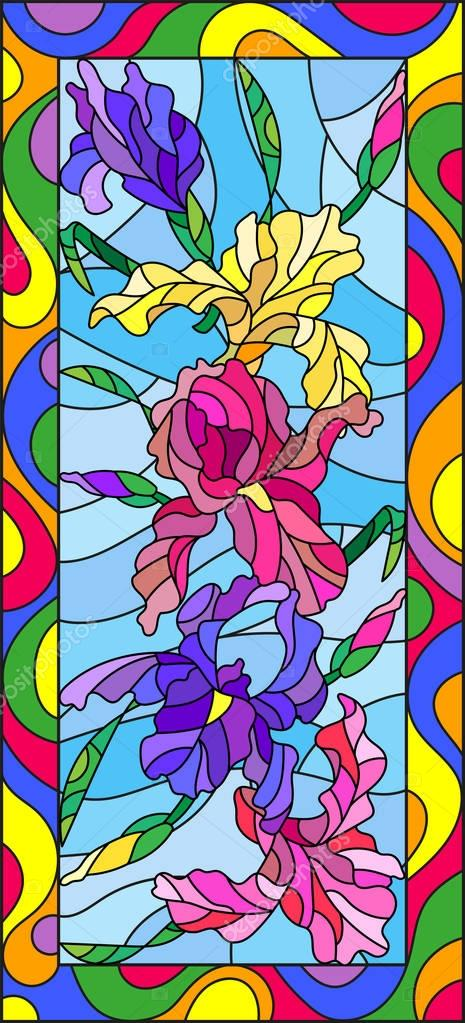 Illustration in stained glass style with flowers, buds and leaves of iris,vertical orientation