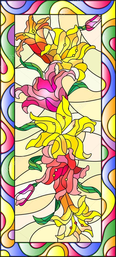 Illustration in stained glass style with flowers, buds and leaves of Lily,vertical orientation