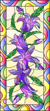 Illustration in stained glass style with flowers, buds and leaves of bluebells flowers,vertical orientation stock vector