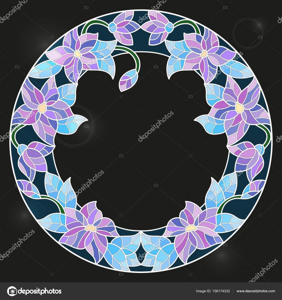 Ilustración en marco de estilo de vidrieras con flores luminosas ...