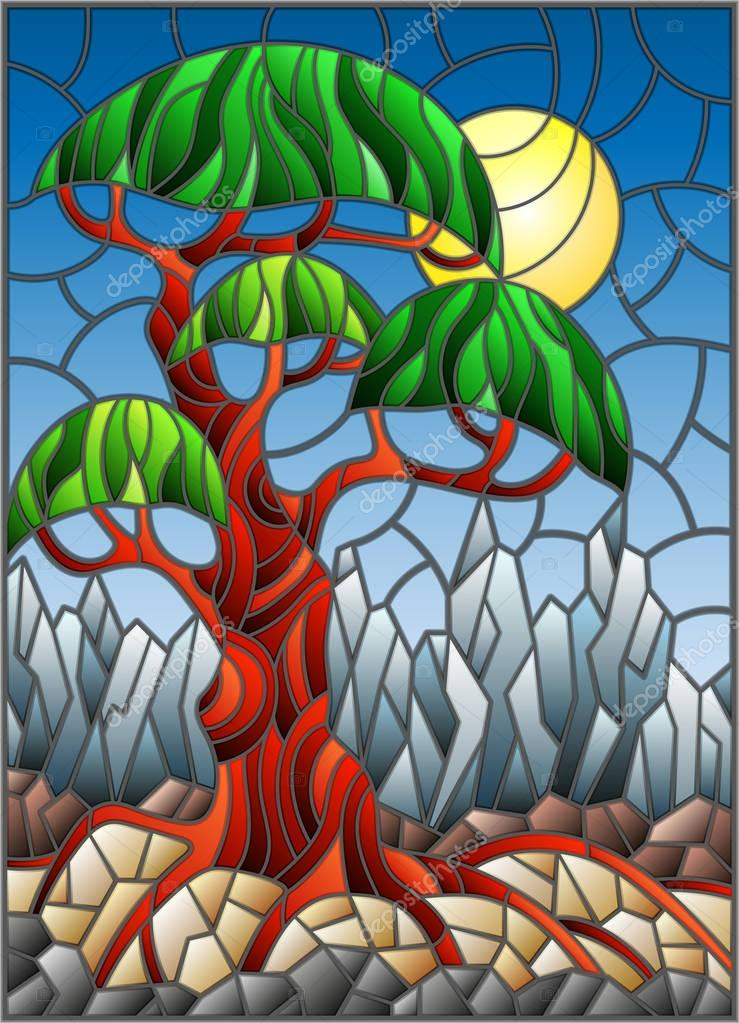 Illustration in stained glass style with green abstract tree on the background of sky, sun and mountain