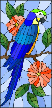 Illustration in the style of stained glass with a beautiful  blue parakeet sitting on a branch of a blossoming tree on a background of leaves and sky