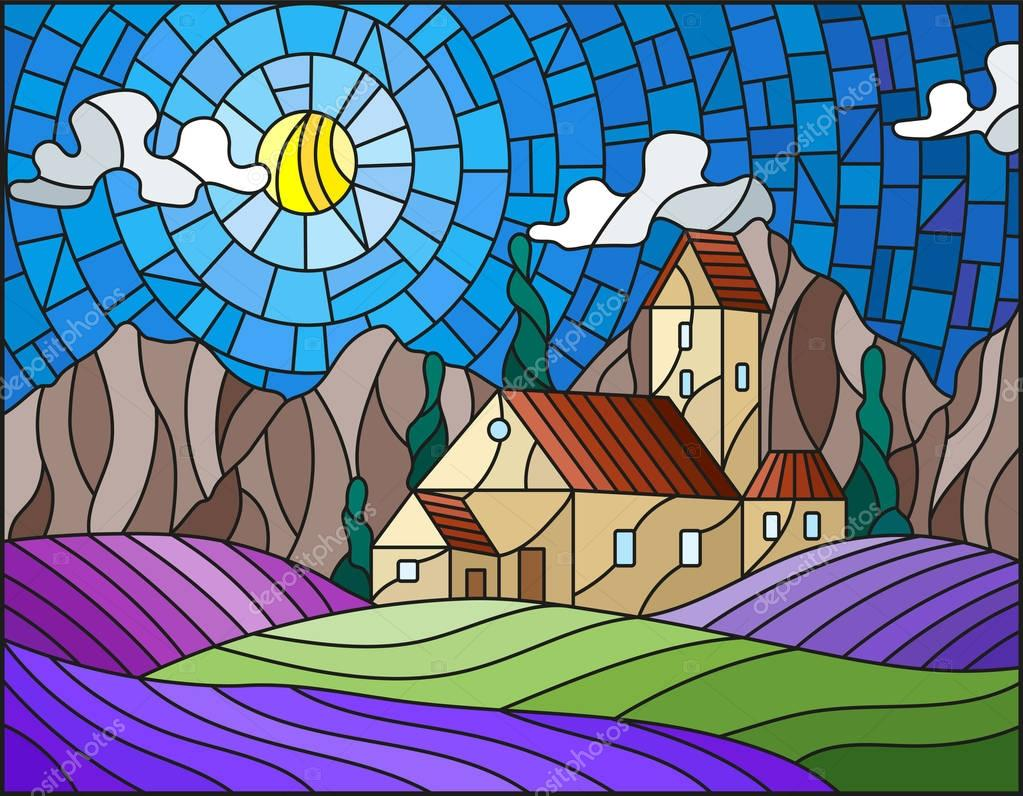 Illustration in stained glass style landscape with a lonely house amid lavender fields, mountains and sky
