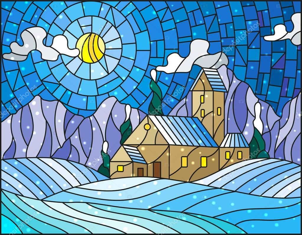 Illustration in stained glass style with abstract winter landscape,a lonely house amid fields, mountains , sky and falling snow
