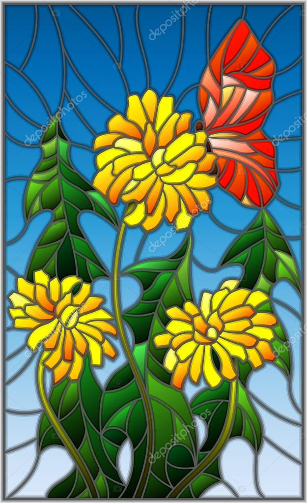 Illustration in stained glass style flower of Taraxacum and butterfly on a blue background