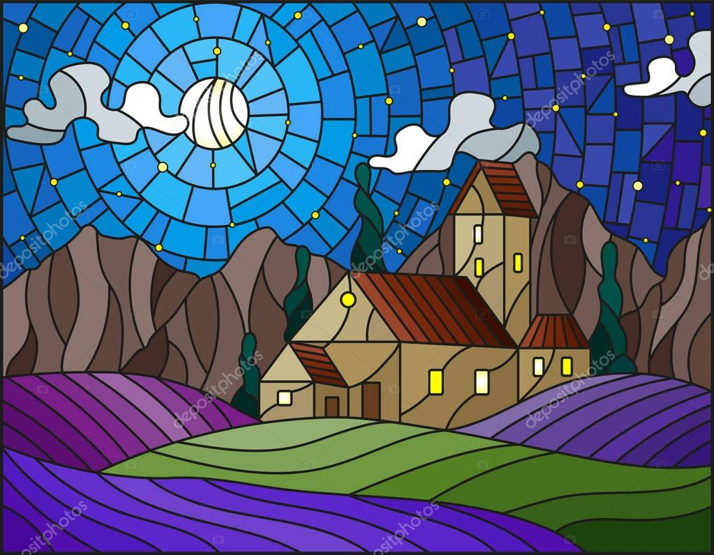 Illustration in stained glass style landscape with a lonely house amid lavender fields, mountains and starry sky