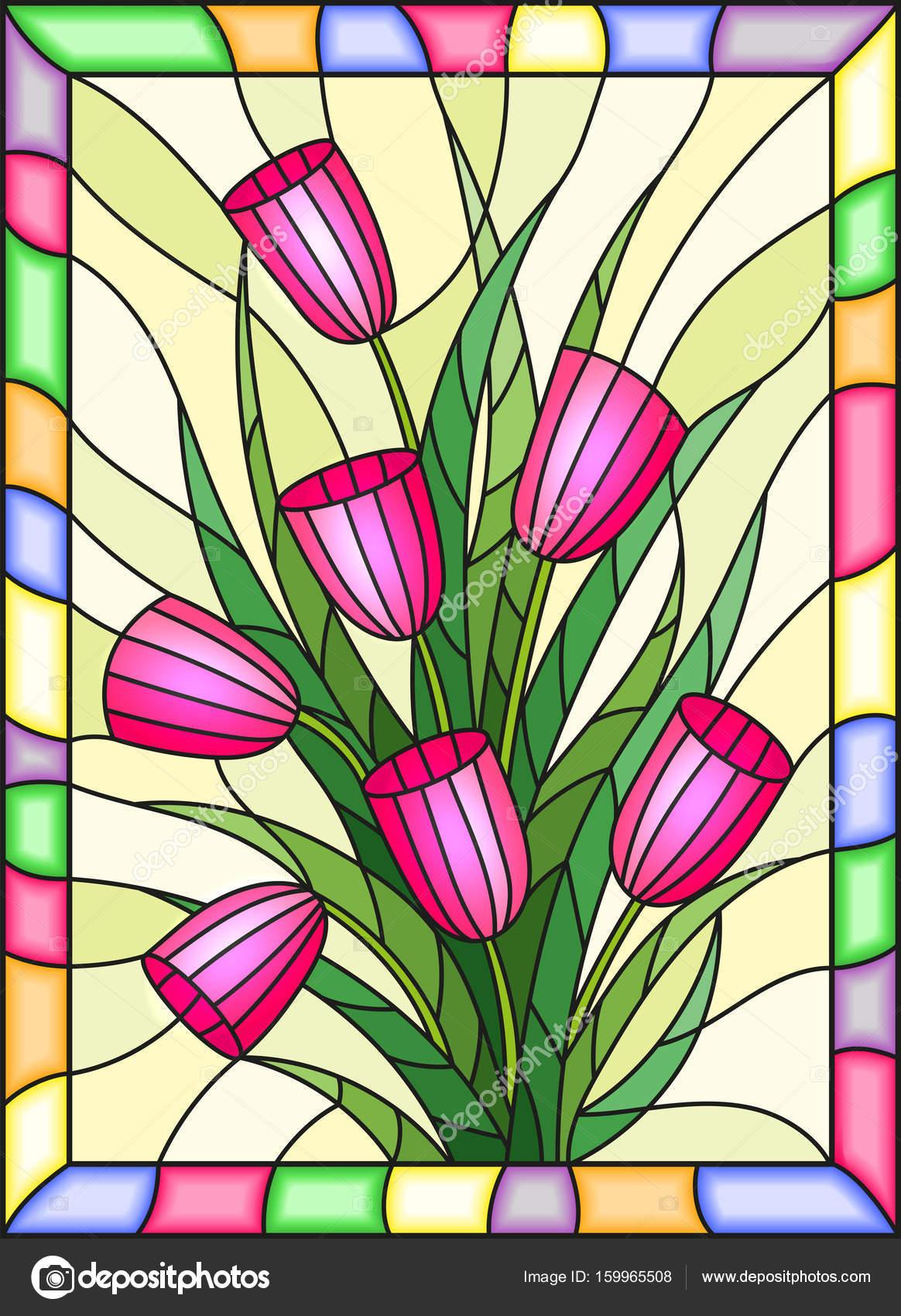 Ilustración en vidrieras de estilo con un ramo de tulipanes color ...