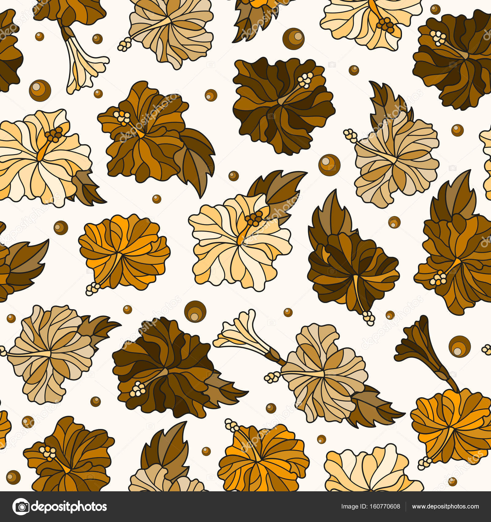 Seamless Pattern With Spring Flowers In Stained Glass Style Flowers