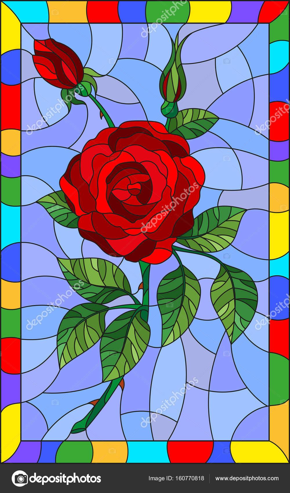 Młodzieńczy Ilustracja w Witraż kwiat stylu z czerwoną różą na niebieskim tle VT49