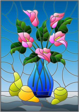 Illustration in stained glass style with bouquets of pink Calla lilies flowers in a blue vase and pears on table on blue background