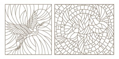 Set contour illustrations of stained glass birds pair of pigeons and stork in the sky and the sun