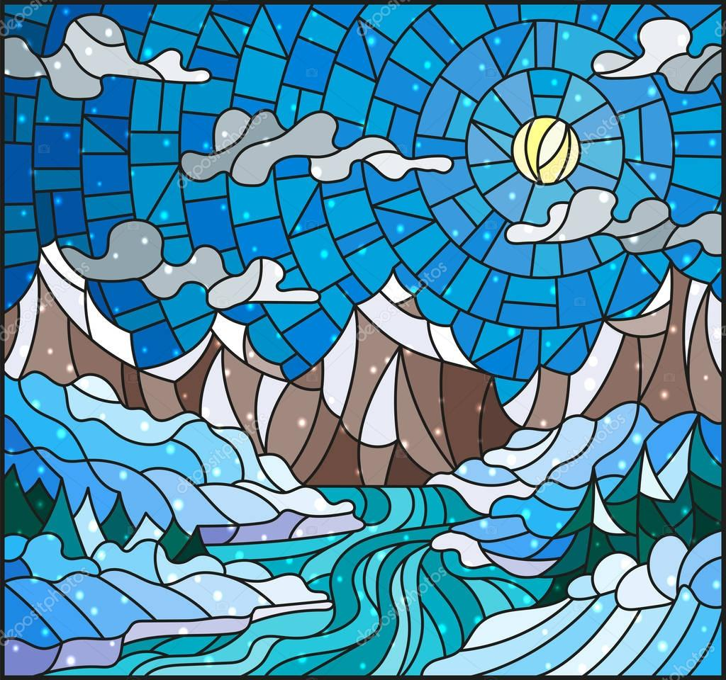 Illustration in stained glass style with a winter landscape, the river against snow-covered coast and mountains