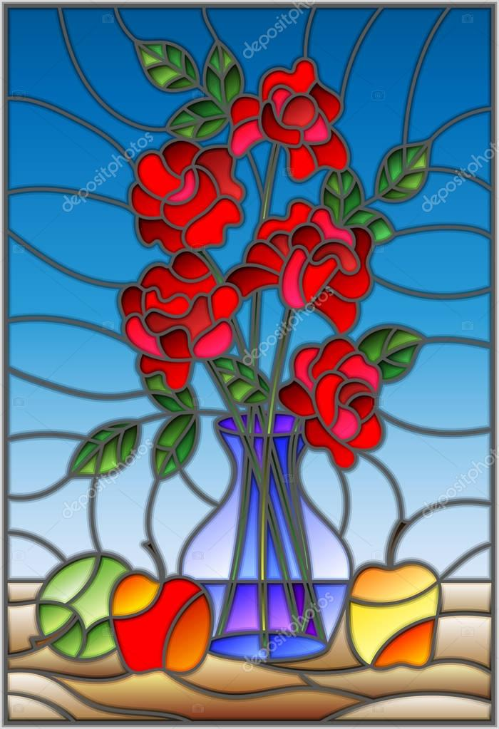 Illustration in stained glass style with bouquets of roses flowers in a blue vase and apples on table on blue background