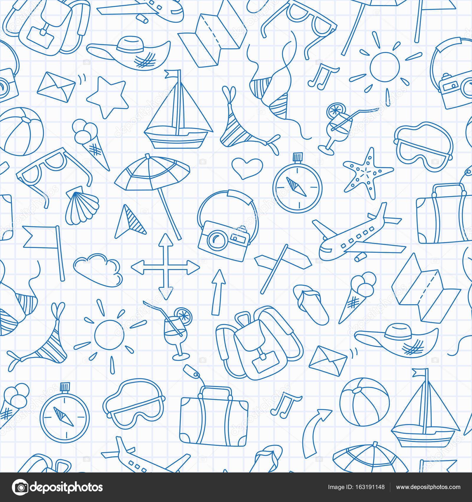 Nahtlose Hintergrund mit einfachen handgezeichnete Symbole zum Thema ...