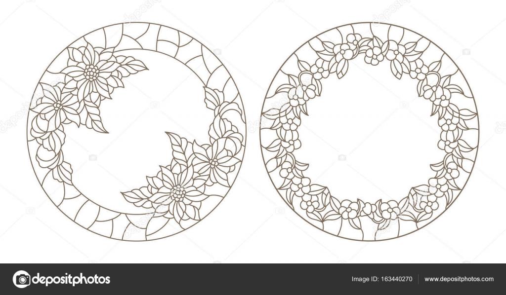 Conjunto contornos ilustraciones de vidrieras con marco flores ...