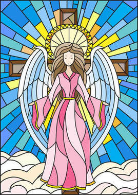 Illustration in stained glass style with an angel on the background of the cross ,sky and clouds