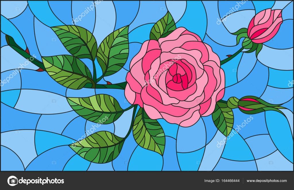 Świeże Ilustracja w Witraż kwiat stylu różowych róż na niebieskim tle CU82